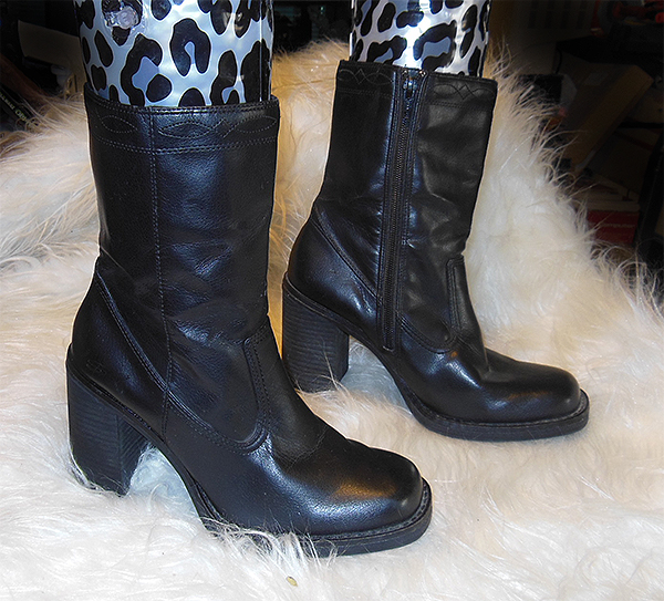 somethin else from skechers black calf high boots with